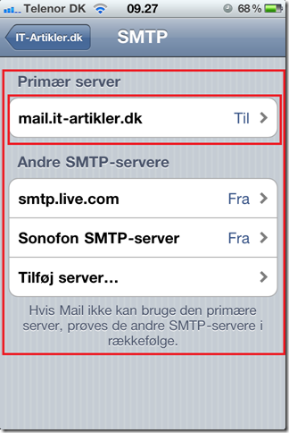 iPhone andre smtp