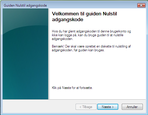 Glemt Windows Vista Kode