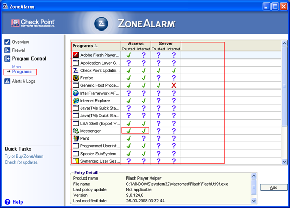 zonealarm programs