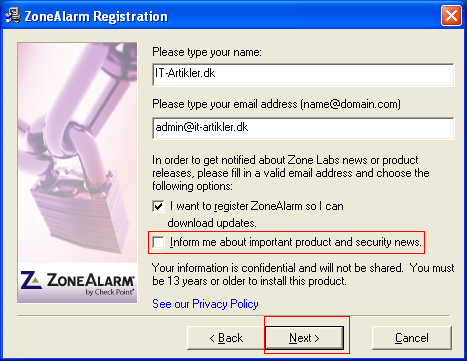 zonealarm help