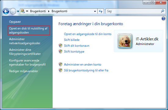 Opret en disk til nulstilling af kodeord i Vista | IT-Artikler.dk