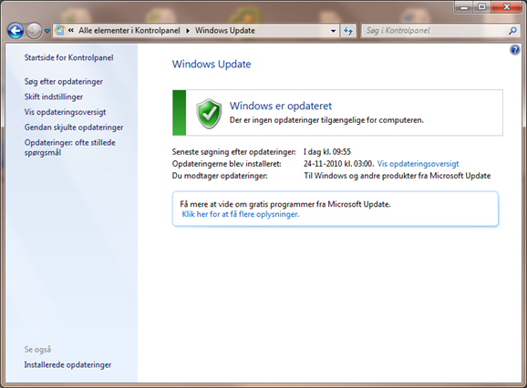 Skjul windows 7 opdatering | IT-Artikler.dk