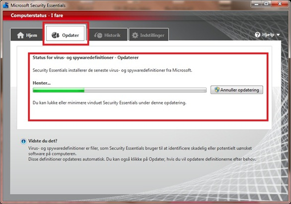 Microsoft Security Essential Opdater