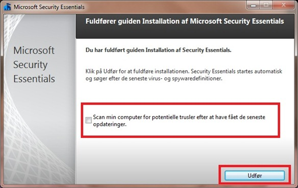 Microsoft Security Essential scan