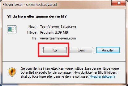 Kør teamviewer