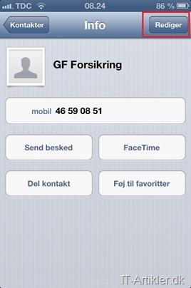 iPhone rediger kontakt